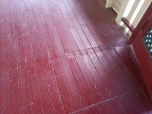 Wooden floorboards on a verandah