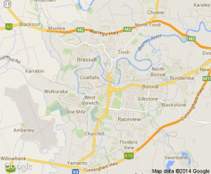 "Map of our carpet cleaning service area ""Ipswich Qld"""